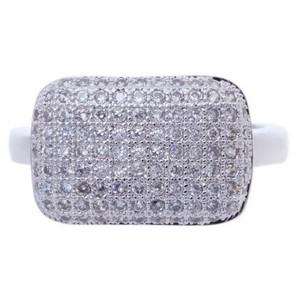 Silver Micro Pave Cubic Zirconia Metal Ring-UA786183PK