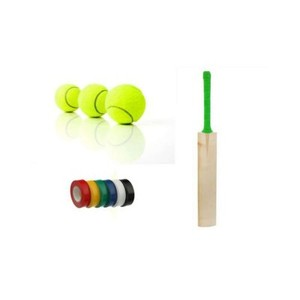 Pack of 3-Tape Ball Cricket Bat with Ihsan 49 Tennis Balls & Black Tapes
