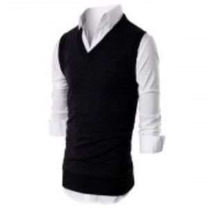 Black Fleece Half Sleeves Sweater