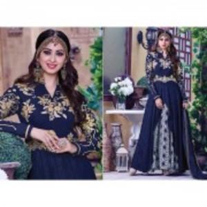 Blue Semi Stitched Designer Party Wear Anarkali Dress-404