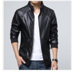 Slimfit Stylish Casual Black Jacket Faux Leather  39 Otf -Black