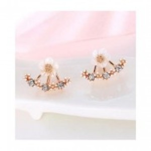 Rose Gold Fashion Jewelry Cherry Blossoms Flower Stud Earrings