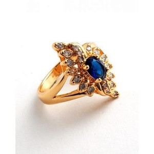 Blue Unique Design Zircon Crystal Gold Plated Ring