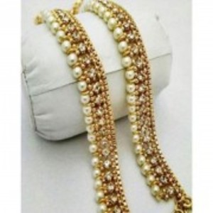 Set Of 2 - Pearl Golden Anklets