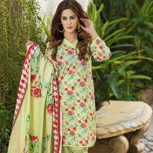 Multicolour Unstitched Lawn 3pc  Suit-UDL25300300B