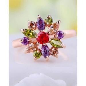 Rose Gold Ring with AAA Multicolor Cubic Zircon