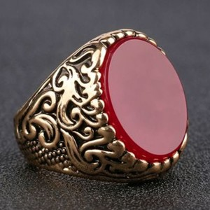 Turkish Gold Plated Men's Ring With Red Onyx-Brass Alloy