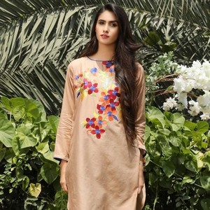 Light Brown Textured Lawn Kurta with Embroidery on Front-BS1736