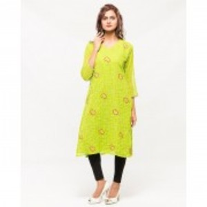 Green Chiffon Multicolor Embroidered kurta