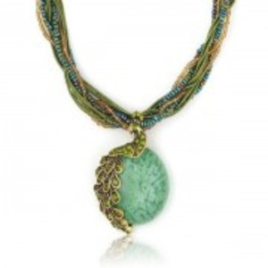 Beads Pendant Necklace for Women-Peacock Stone-Green