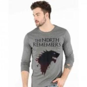 Grey Cotton Game Thrones Printed Long Sleeves T-ShirtGNL-WT152