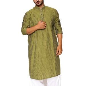 Green & Multicolour Striped 100% Cotton Stitched Kurta - 21015038