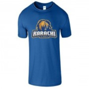 Royal Blue Cotton Karachi King Printed T-Shirt-00429