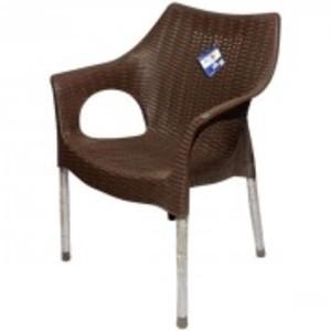 Rattan Plastic Chair With Steel Legs-Dark Brown
