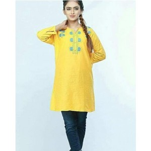 Pearl Cotton Yellow Embroided Kurti for Women