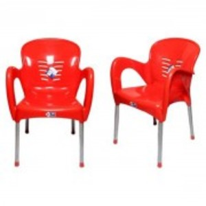 Plastic Res Relaxo Chair With Steel Legs Set of 2-Red