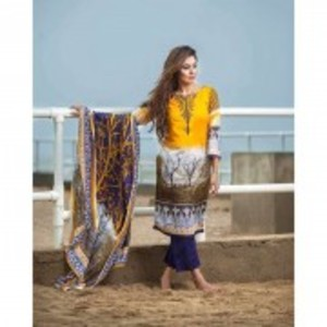 Unstitched Yellow Lawn Net Collection