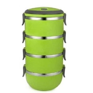 Stainless Steel Lunch Box-4 Layers-Green & Black