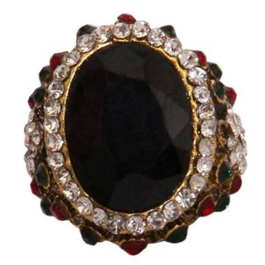 Gold Plated Black & Multicoloured Stone Ring-R-0029