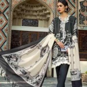 Multi Unstitched Printed Shirt & Slevees-Pashmina Shawl Dyed Bottom