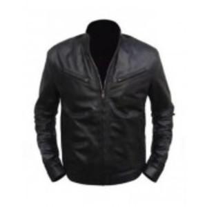 Black Stylish Faux Leather Regular Fit Biker Jacket Diesel Men
