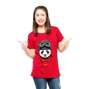 Ace-Red Super Panda Cotton Printed T Shirt-Ace-0202
