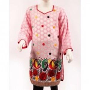 Pink Jacquard Embroidered Lawn Kurti