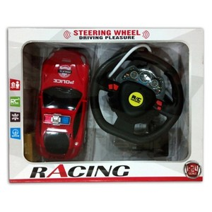 Rc Police Car With Steering Wheel-Red