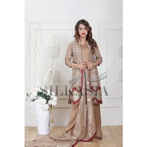 Mysori Chiffon 3 Pcs Unstitched Suit with Embroidered Upper Jacket - ET-709