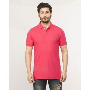 Pink Plain Cotton T-Shirt-870 Polo Pink
