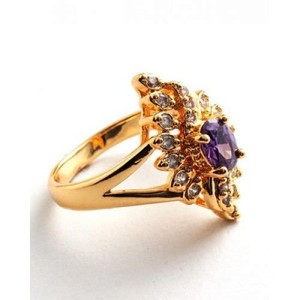 Purple Unique Design Zircon Crystal Gold Plated Ring