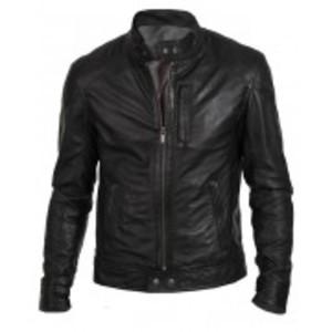 Black Real Leather Regular Fit Racer Jacket Biker Hunt Men