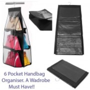 6 Pocket HANGING HANDBAG Purse BAG TIDY Organiser Storage Wardrobe Closet Hanger