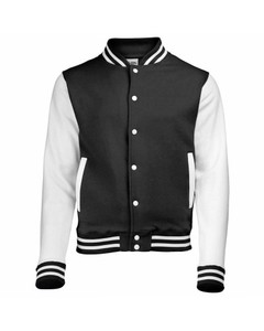 Adolphs Collection White & Black 100% Jersey Cotton Baseball Jacket-Ado124