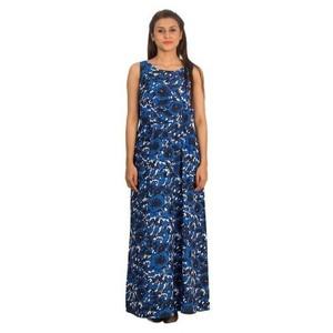 Blue Floral Cotton Blend Luxury Maxi Dress for Women - UBB040