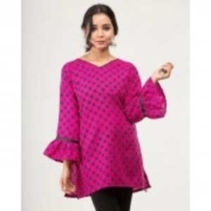 Shocking Pink Crepe Lawn Black Printed Tunic