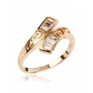 White Zircon Studded 24K Gold Plated Cross Shaped Ring