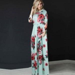 Pocket Design Green Long Sleeve Floral Maxi Dress-R80499-4