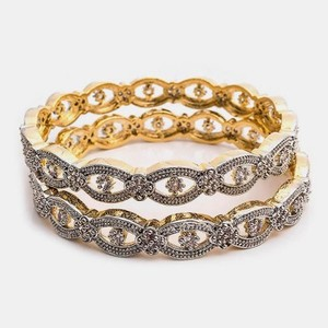 Gold Plated Crushed Zirconia Adrains Bangles