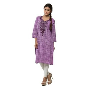 Purple Self Printed Cotton Embroidered Kurta for Women