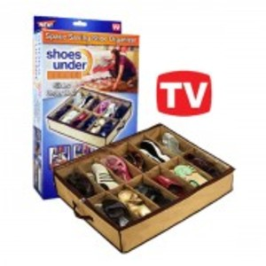 Brown Shoes Under Fabric Shoe Storage-11245478049