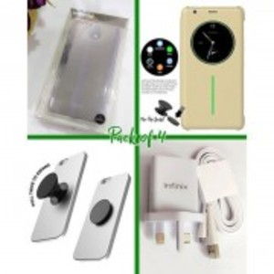 Pack Of 4 - Note 4 Cover, Jelly Case, 3 Pin Flash Charger & Popsockets