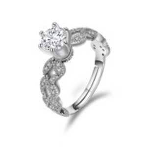 Stimulated Diamond 1.5 Carat Silver Rings For Women