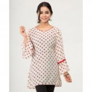 Off White Chiffon Red Printed Tunic