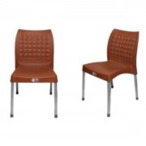 Plastic Res Relaxo Chair With Steel Legs Set of 2-Brown