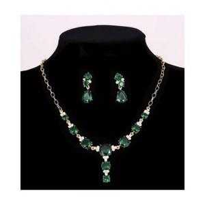 Green - Pendant Necklace Water Drop Earrings