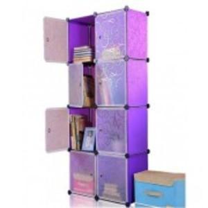 DIY 8 Cubes Elegant Purple Stripe Storage Cabinet