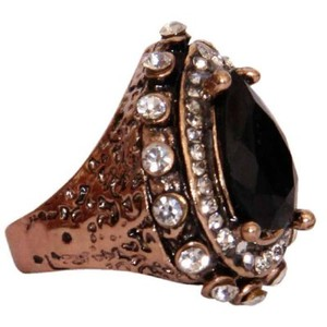 Gold Plated Black & White Stone Ring-R-0037