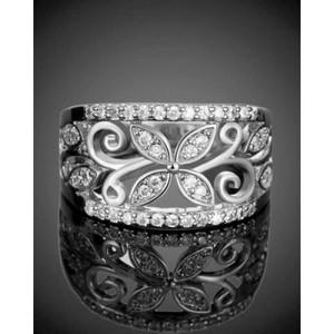 Silver Flower Cubic Zirconia Rings