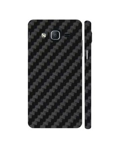 Decor Today Samsung On5 2015 Black Carbon Fiber Texture Mobile Skin-Back & Sides